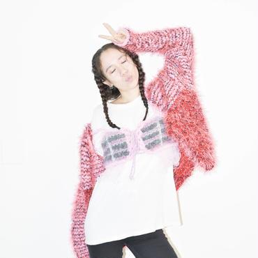 Long fur jacket < PINK × RED _neon pink fur >