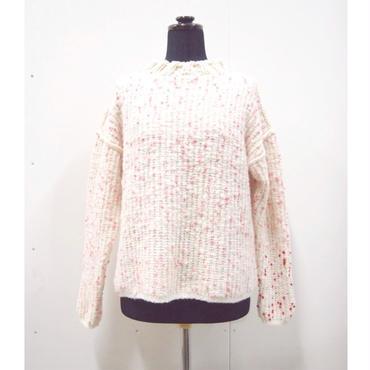 Pom Poms mock knit < WHITE × PINK dots >