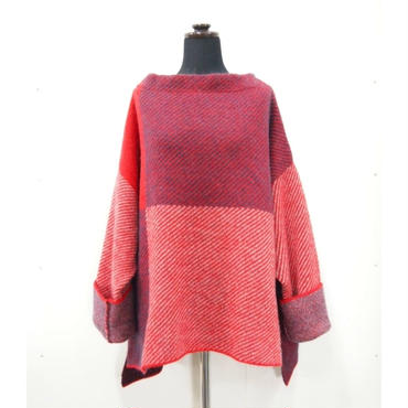 Combination knit <Red×Navy>_ Unisex/Ladies