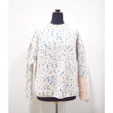Pom Poms mock knit < WHITE × BLUE dots >