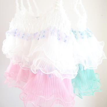 Ruffled Camisole < White × mint green >/< white × L.pink >