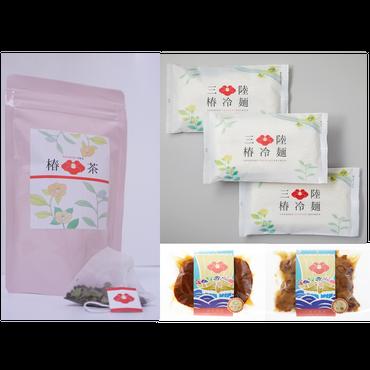 【カメリアセレクト】椿茶+三陸甘茶煮(カキ・ほたて)+三陸椿冷麺3袋セット