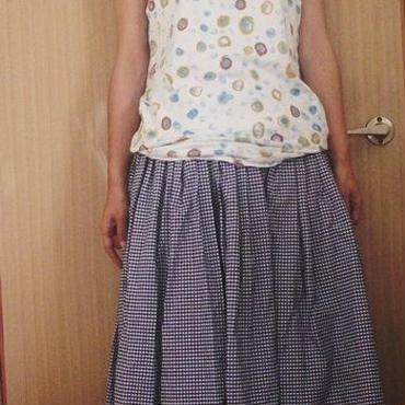紺白ギンガムふんわりタック&ギャザースカート