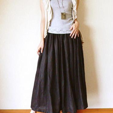 tennenシリーズ黒リネン大人の為のフレアースカート