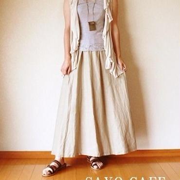大人かっこいいリネンフレアースカート