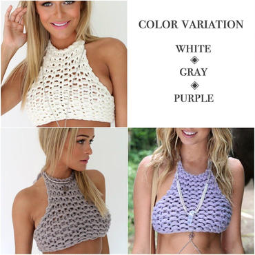 Halter Crop knit Top
