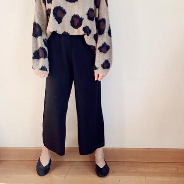 SALE  韓国ファッション ニット アンクルパンツ ニット ワイドパンツ ウール混 / ブラック