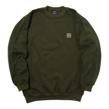 THUMPERS BROOKLYN NYC USA EMBROIDERY LOGO SWEAT CREW (OLIVE)