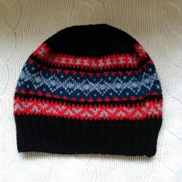 手編みのニット帽(フェアアイルA )