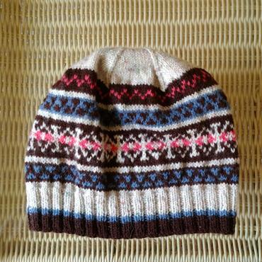 手編みのニット帽(ノルディック柄ツイード)