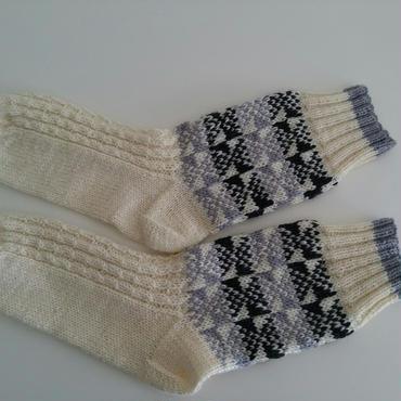 手編みの靴下(リアルトラッドB )White