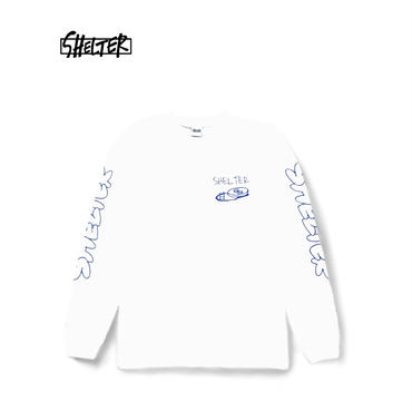 SHELTER Long SleeveT-Shirts (White/Blue)
