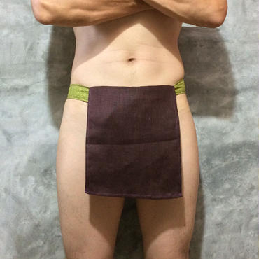 ふんどし 麻&亜麻 茶 麻柄グリーン】 ShiNoBi Fundoshi Linen &Hemp Brawn02