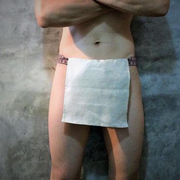 """ふんどし【麻生成リネン赤】 """"ASA-KINA-LINEN-RED"""" 忍褌×ShiNoBi Samurai Underwear (素材:麻亜麻/LinenHemp)"""