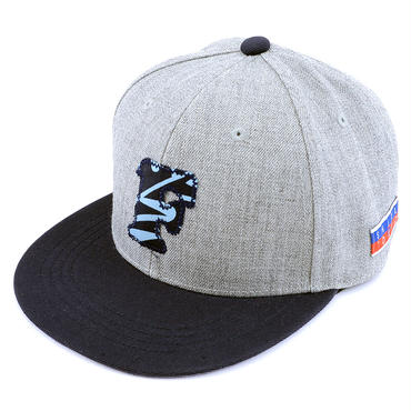 "[WAIF ONE x SHIRL]コラボ ""F"" SNAP BACK CAP (MIX-GREY/NAVY) (SH160207WAF)"