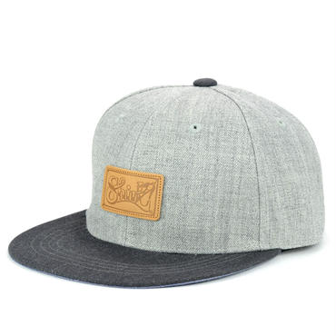 LEATHER PATCH SNAPBACK 6PANEL CAP (MIX-G/D-GREY)(SH150202GCH)