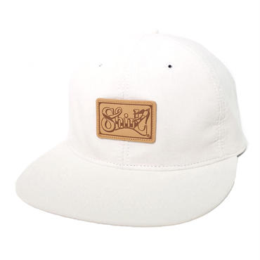LEATHER PATCH SPRING CORDUROY STRAPBACK 6PANEL CAP (WHITE) made in japan (SH170702WHT)
