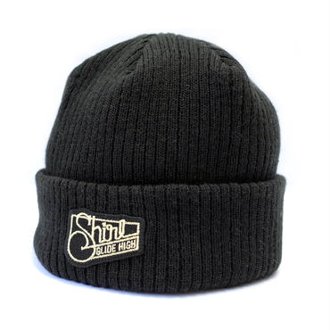 GOLD SQ PATCH CUFF BEANIE  (BLACK) Made in Japan (SH180503BLK)