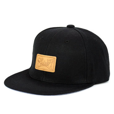LEATHER PATCH SNAPBACK 6PANEL CAP (BLACK)(SH150202BLK)