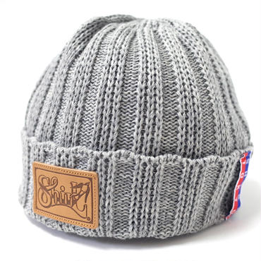 LEATHER PATCH OUTLAST BEANIE  (MIX GREY) Made in Japan (SH160502GRY)