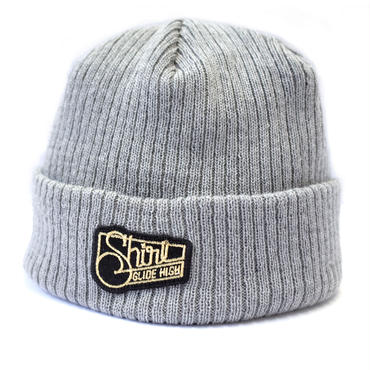 GOLD SQ PATCH CUFF BEANIE  (HEATHER GREY) Made in Japan (SH180503GRY)