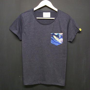 Colorful Botanical - Ladies Pocket Tshirts:カラーボタニカル -レディース ポケットTシャツ ネイビー
