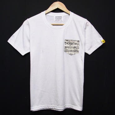 MUSIC - Pocket Tshirts:音符- ポケットTシャツ ホワイト