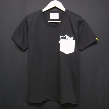 STAR on CORDUROY - Pocket T-shirts:星&コーデュロイ - ポケットTシャツ ブラック(SUMI)