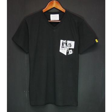 初回製産 数量限定!CATS PAPER - Pocket Tshirts:ネコ新聞 - ポケットTシャツ ブラック