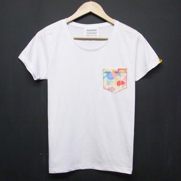 Colorful Botanical - Ladies Pocket Tshirts:カラーボタニカル -レディース ポケットTシャツ ホワイト