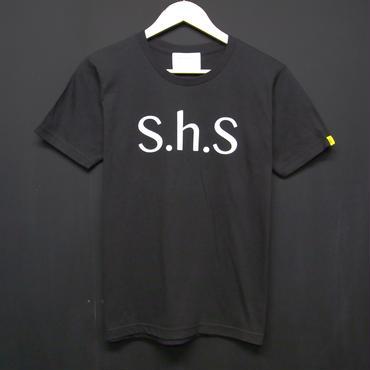 S.h.S - Print T-shirts:S.h.S シンプルTシャツ ブラック