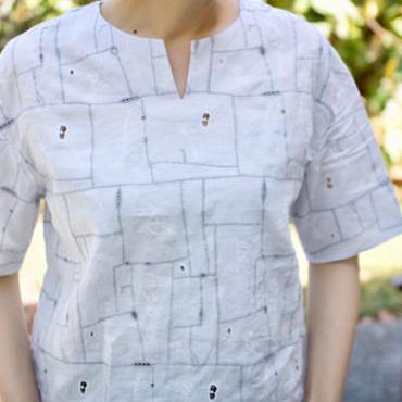 ミナ ペルホネン     garden patchwork  ブラウス     -light gray-