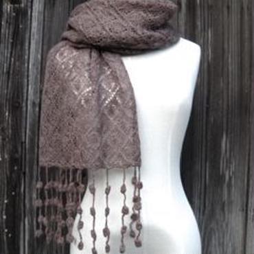 手編みアルパカ ボンボン付きショールとアームカバーセット/ナチュラルブラウン