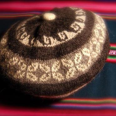 アルパカ100% 手編みベレー帽 黒