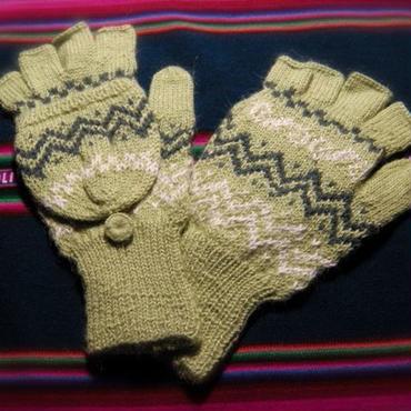 アルパカ100% 手編みてぶくろ 指なし・取り外しできるカバー付き Mサイズ ライトグリーン