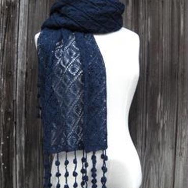 手編みアルパカ ボンボン付きショールとアームカバーセット/新月の夜の色
