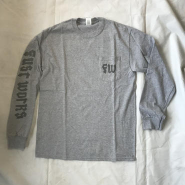 "fustworks ""RIP SAW"" L/S pocket TEE (GRAY)"