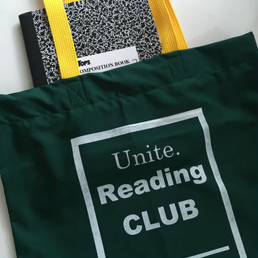 "UNICORN UNIVERSITY ""Reading Club"" bag  green × yellow"