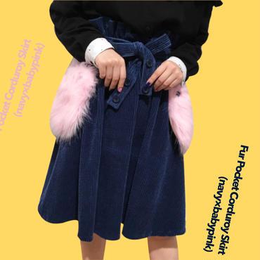 Fur Pocket Corduroy Skirt (navy×pink)