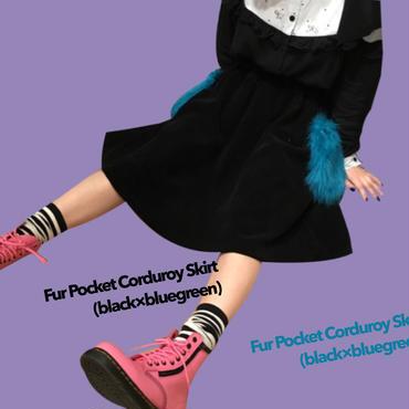 Fur Pocket Corduroy Skirt (black×bluegreen)