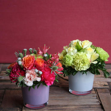 [母の日]ガラス花瓶のアレンジメントS