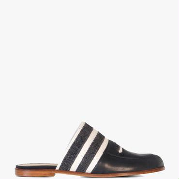 Deux Souliers (サンプルコレクション) - Cut Toe Flop #1 フロップデザインサンダル (ブラックストライプ)