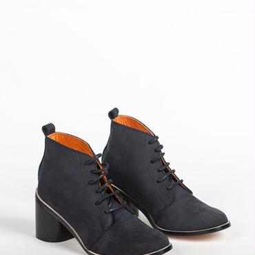 Deux Souliers - Desert Heel #1 Nobuc Black ヌバック・チャンキーヒール・レースアップ・ブーティ (ブラック)【スペイン】【靴】【シューズ】【インポート】