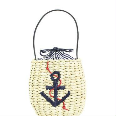 イカリモチーフ・マリンバスケットバッグ (ナチュラル) 【セール】【巾着】【かごバッグ】【ナチュラル】【自然素材】【ベージュ】【ブラウン】【雑誌掲載】