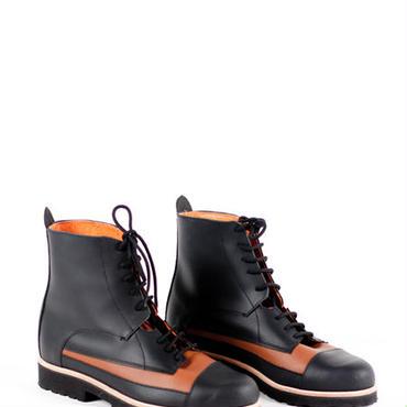 Deux Souliers - Oxford Boot #1 Black-Natural ツートン・レースアップ・ショートブーツ (ブラック/ブラウン)【スペイン】【靴】【シューズ】【インポート】