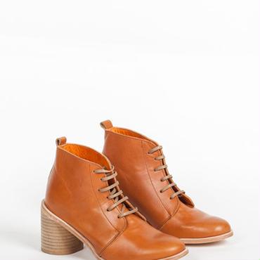 Deux Souliers - Desert Heel #1 All Natural レザー・チャンキーヒール・レースアップ・ブーティ (キャメル)【スペイン】【靴】【シューズ】【インポート】