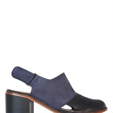 Deux Souliers / ドゥ・スーリエ - Layer Semi Heel #2 チャンキーヒールサンダル (ネイビー/ブラック)