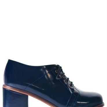 Deux Souliers / ドゥ・スーリエ (サンプルコレクション) - Seam Semi Heel #1 チャンキーヒールシューズ (ネイビー)