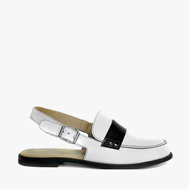 Deux Souliers (サンプルコレクション) - Open Heel Moccasin #1 バックストラップモカシン (ホワイト&ブラック) 【スペイン】【靴】【シューズ】【VOGUE】