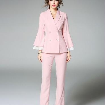 [セット]♪ベルスリーブ パール ボタン スーツ ピンク(S,M,L,XL)♪